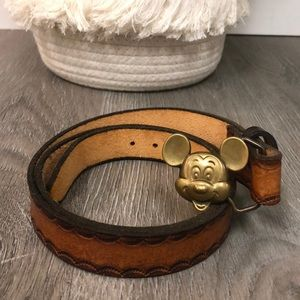 Disney Mickey brown tooled leather brass belt